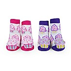 Waddle Size 0-12M 2-Pack Cupcake Rattle Baby Socks in Pink/Purple