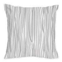 Sweet Jojo Designs Stag Wood Grain Print Throw Pillow in Grey/White