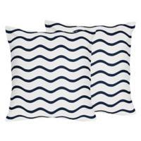 Sweet Jojo Designs Whale Chevron Wave Print Throw Pillows (Set of 2)
