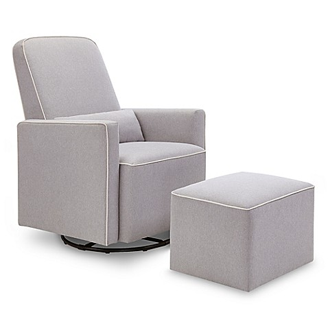 Davinci Olive Upholstered Swivel Glider And Ottoman In Grey With Cream Piping Bed Bath Amp Beyond