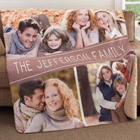 Family Photo Collage 50-Inch x 60-Inch Premium Sherpa Throw Blanket