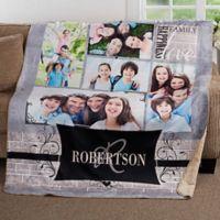 Family Photo Memories 50-Inch x 60-Inch Premium Sherpa Throw Blanket