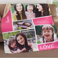 Family Love Photo Collage 50-Inch x 60-Inch Premium Sherpa Throw Blanket