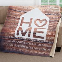 Home Is Love 50-Inch x 60-Inch Premium Sherpa Throw Blanket