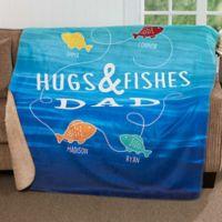 Hugs & Fishes 50-Inch x 60-Inch Premium Sherpa Throw Blanket
