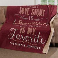 Love Story 50-Inch x 60-Inch Premium Sherpa Throw Blanket