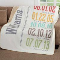 Milestone Dates 60-Inch x 80-Inch Premium Sherpa Throw Blanket
