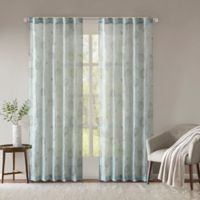 Madison Park Arella Printed Crushed 95-Inch Rod Pocket/Back Tabs Window Curtain Panel Pair in Aqua