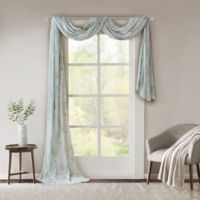 Madison Park Arella Sheer 216-Inch Scarf Window Valance in Aqua