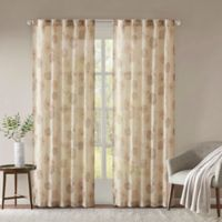 Madison Park Arella Printed Crushed 108-Inch Rod Pocket/Back Tabs Window Curtain Panel Pair in Taupe