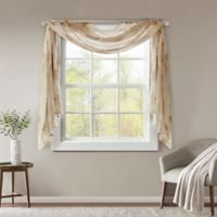 Madison Park Arella Sheer 144-Inch Scarf Window Valance in Taupe
