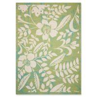 Nourison Coastal Floral Indoor/Outdoor 5'3 x 7'5 Area Rug in Green
