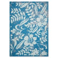 Nourison Coastal Floral Indoor/Outdoor 5'3 x 7'5 Area Rug in Blue