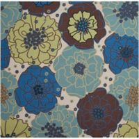 "Nourison Home & Garden Indoor/Outdoor 6'6"" x 6'6"" Area Rug in Light Blue"