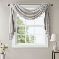 Madison Park Irina Diamond Sheer 144-Inch Window Scarf Valance in Grey