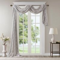 Madison Park Irina Diamond Sheer 216-Inch Window Scarf Valance in Grey