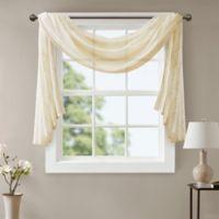 Madison Park Irina Diamond Sheer 144-Inch Window Scarf Valance in Ivory
