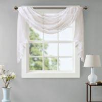 Madison Park Irina Diamond Sheer 216-Inch Window Scarf Valance in White