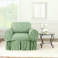 Sure Fit® Matelasse Damask Chair Cover in Sage