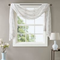 Madison Park Irina Diamond Sheer 144-Inch Window Scarf Valance in White/Grey