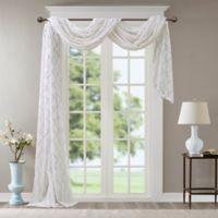 Madison Park Irina Diamond Sheer 216-Inch Window Scarf Valance in White/Grey