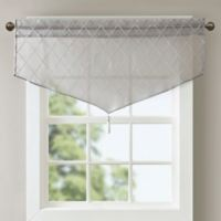Madison Park Irina Diamond Sheer Ascot Window Valance in Grey