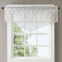 Madison Park Irina Diamond Sheer Ascot Window Valance in White/Grey