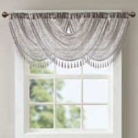 Madison Park Irina Diamond Sheer Waterfall Window Valance in Grey
