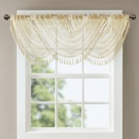 Madison Park Irina Diamond Sheer Waterfall Window Valance in Ivory