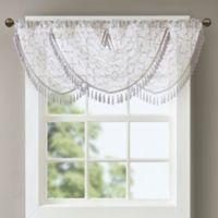 Madison Park Irina Diamond Sheer Waterfall Window Valance in White/Grey