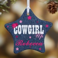 Cowgirl & Cowboy Up Star 1-Sided Christmas Ornament