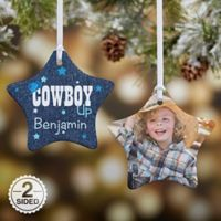 Cowgirl & Cowboy Up Star 2-Sided Christmas Ornament