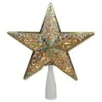 Northlight 8.5-Inch Glitter Star Tree Topper in Gold with Clear Lights