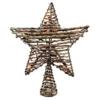 Rattan 11.5-Inch 10-Light Star Christmas Tree Topper in Brown