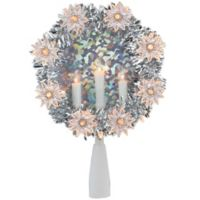 Candle Wreath 7-Inch 11-Light Star Christmas Tree Topper in Clear/Silver