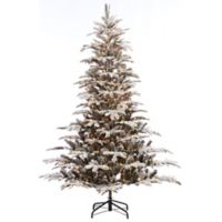 Puleo International 7.5-Foot Flocked Pre-Lit Aspen Fir Christmas Tree with Clear Lights