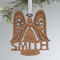 Family Angel Personalized Wood Christmas Ornament in Brown