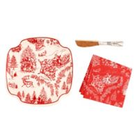 Mud Pie® Christmas Toile 3-Piece Ceramic Cheese Plate and Spreader Set