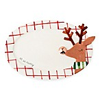 "Mud Pie® Reindeer ""Oh So Merry"" Ceramic Oval Platter in Red/White"