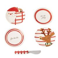 Mud Pie® 5-Piece Santa and Reindeer Tidbit Plate and Spreader Set in Red/White