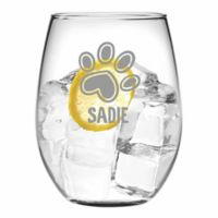 Susquehanna Glass Paw Print Stemless Wine Glasses (Set of 4)