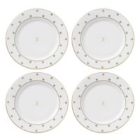 "kate spade new york Larabee Road™ Gold Monogrammed Letter ""S"" Tidbit Plates (Set of 4)"
