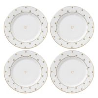 "kate spade new york Larabee Road™ Gold Monogrammed Letter ""V"" Tidbit Plates (Set of 4)"