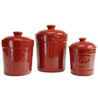 Signature Housewares Sorrento 3-Piece Canister Set in Ruby