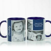 Family Love Photo Collage 15 oz. Coffee Mug in Blue