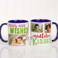 """Candy Cane Wishes and Mistletoe Kisses"" 11 oz. Photo Christmas Mug in Black"
