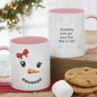 Snowman Character 11 oz. Christmas Mug in Pink