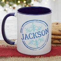 Stamped Snowflake 11 oz. Coffee Mug in Blue