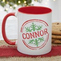 Stamped Snowflake 11 oz. Coffee Mug in Red