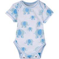 MiracleWear® Size 6-12M Posheez Snap 'n Grow Elephant Print Short Sleeve Bodysuit in Blue
